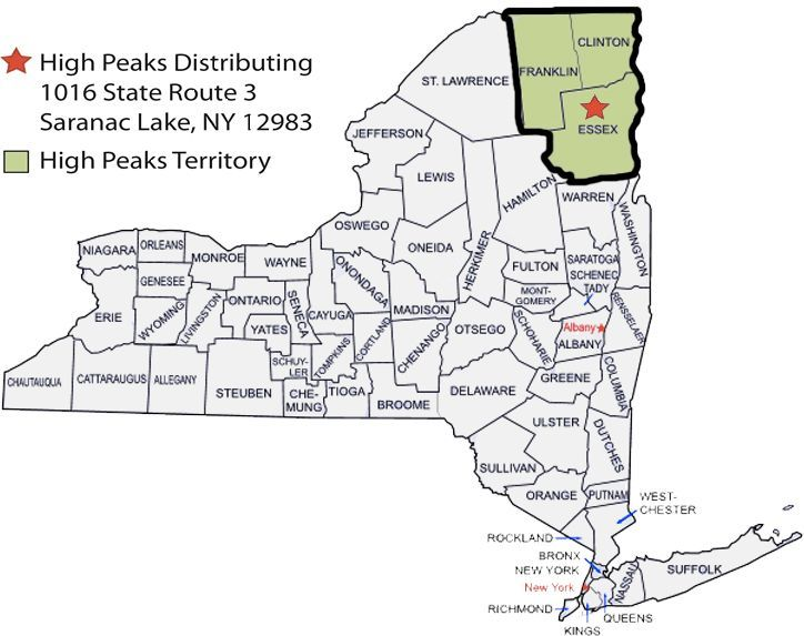 High Peaks Territory Map - Proudly Serving Franklin County, Essex County and Clinton County
